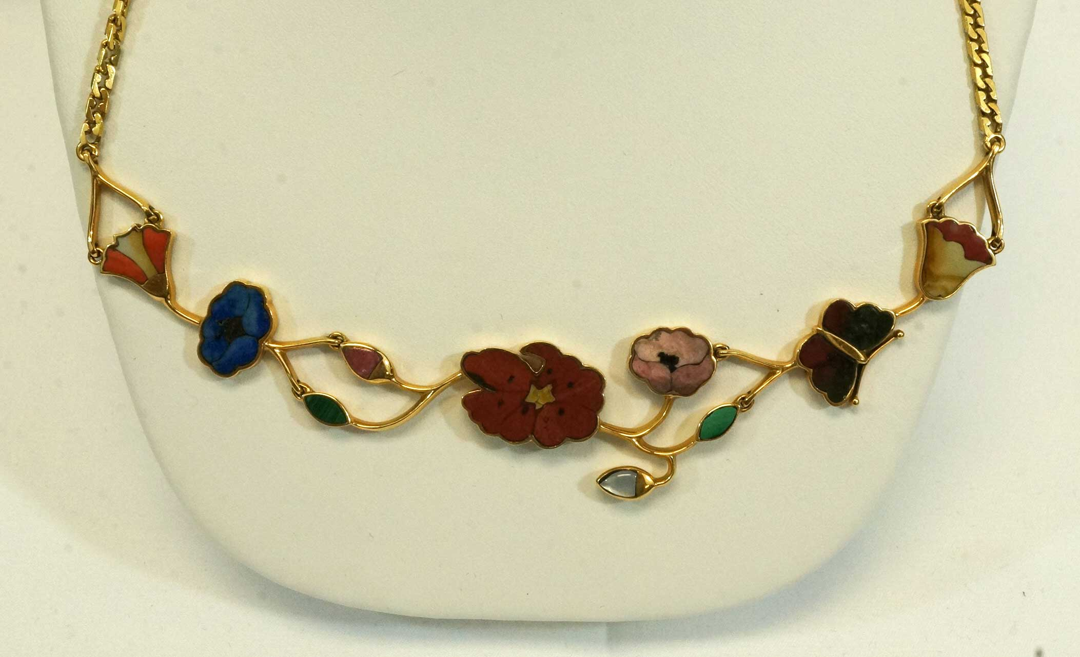 Gucci Italy 18K Gold Multi-Stone Necklace