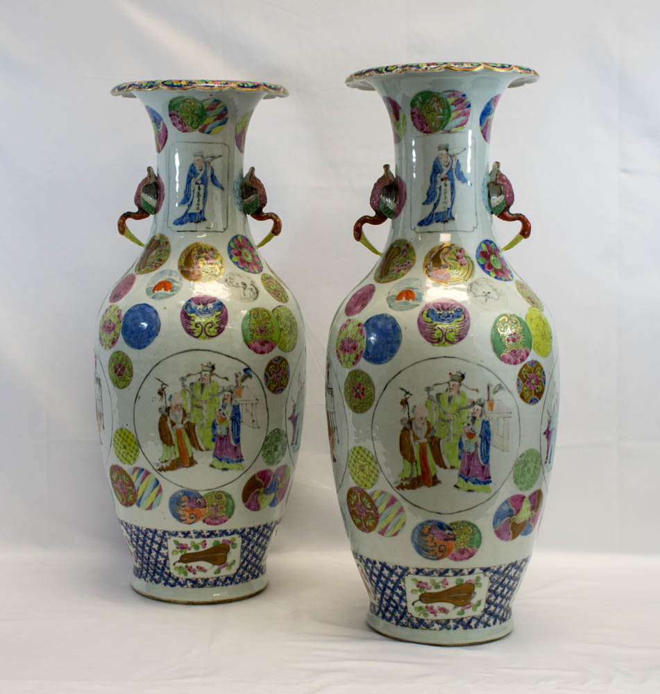 Pair Monumental Old Chinese Signed Floor Vases