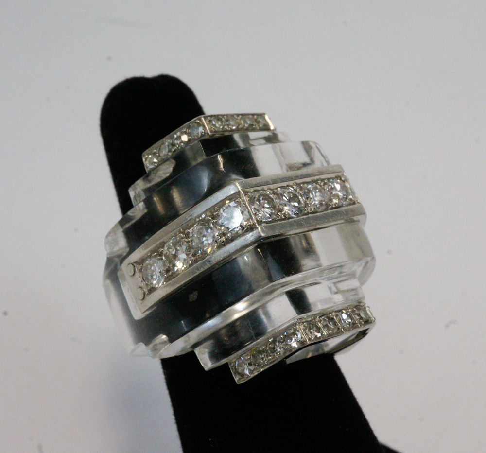 Platinum Rock Crystal and Diamonds Ring