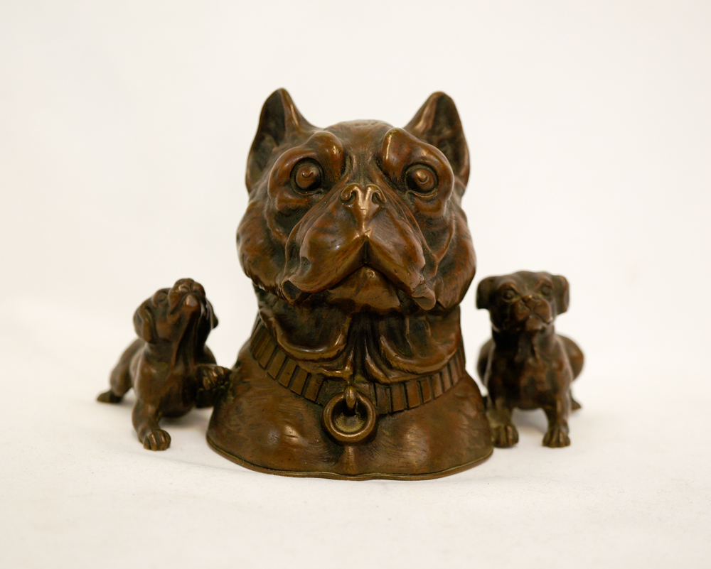 Antique Bronze Inkwell with Dogs