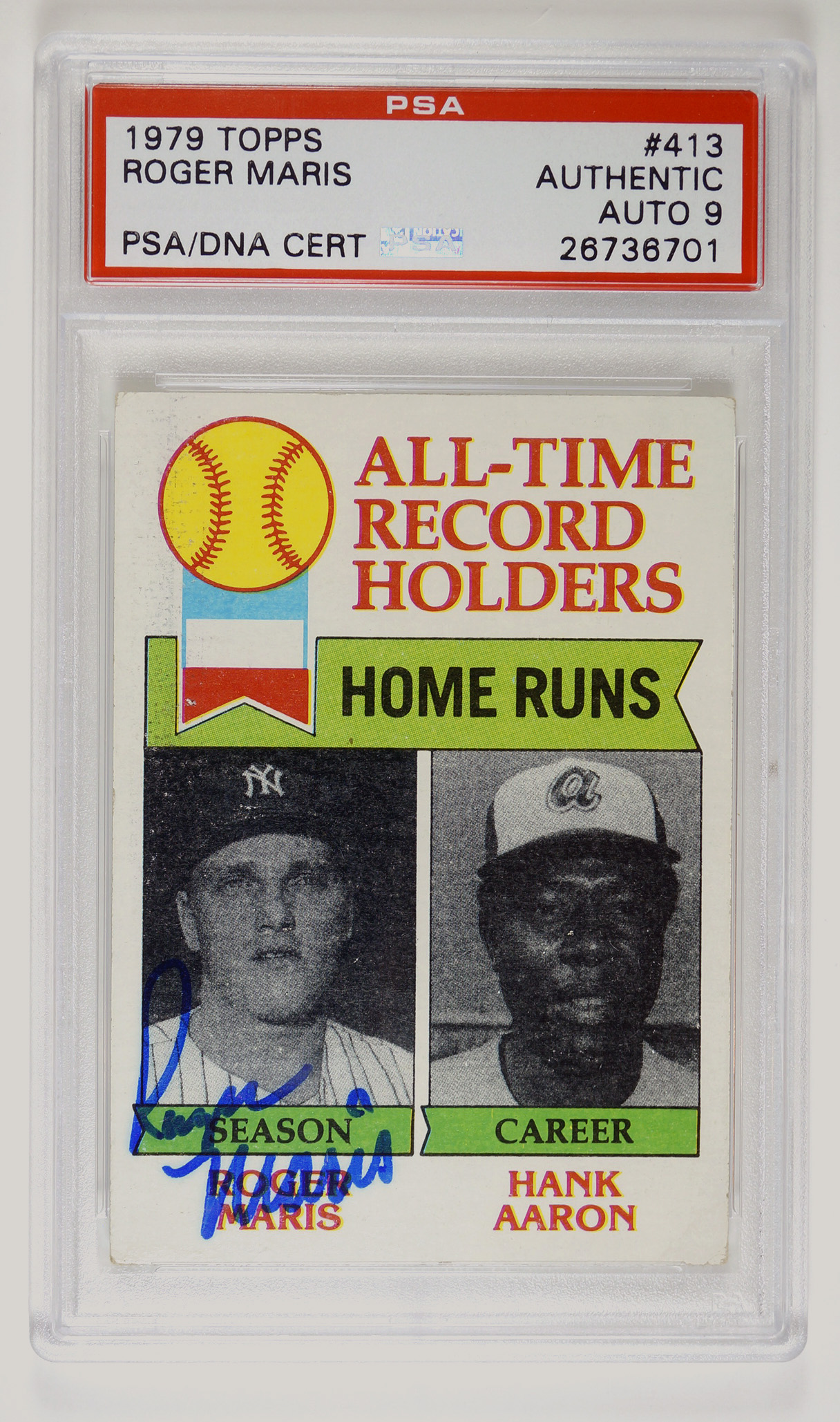 Roger Maris 1979 Topps Signed Card PSA 9 Auto