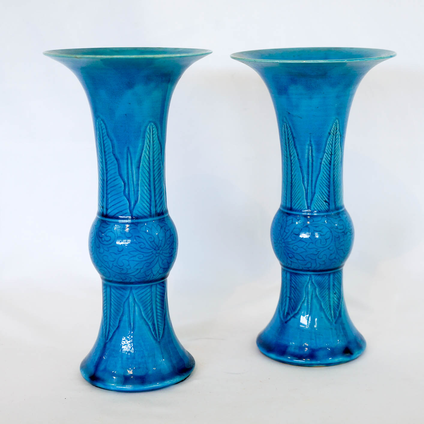 A Pair of Chinese Turquoise Glazed Gu Vases