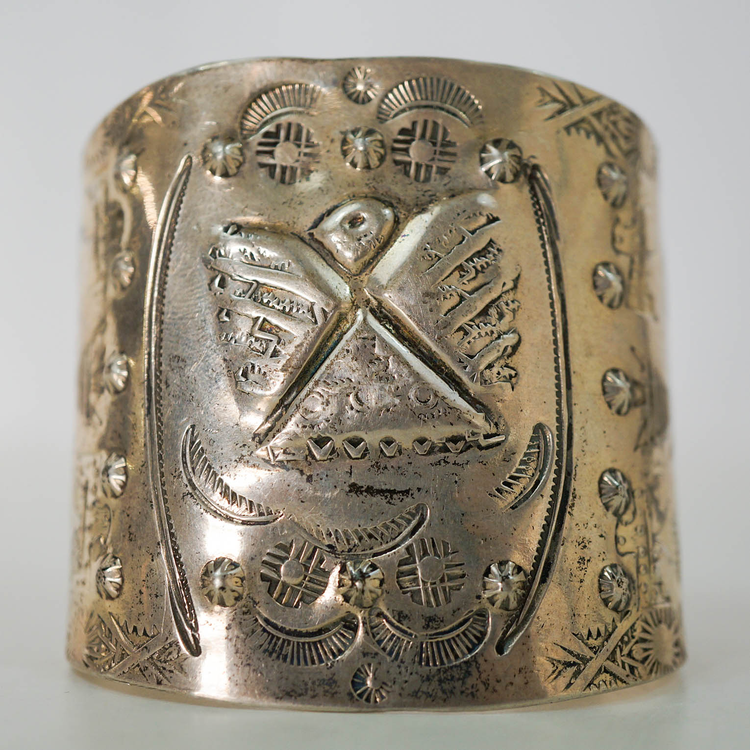 An Old Native American Sterling Cuff Bracelet