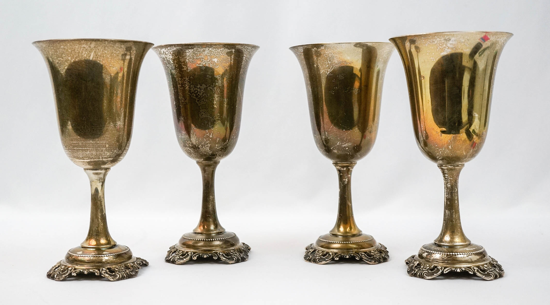 Wallace Grand Baroque Sterling Water Goblets, Four
