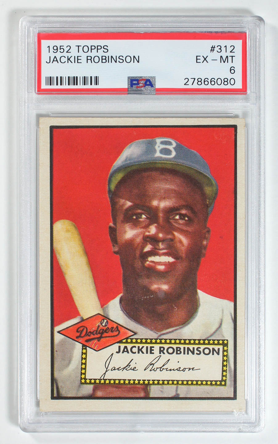 1952 Topps Jackie Robinson Number 312 PSA 6 Ex-Mt