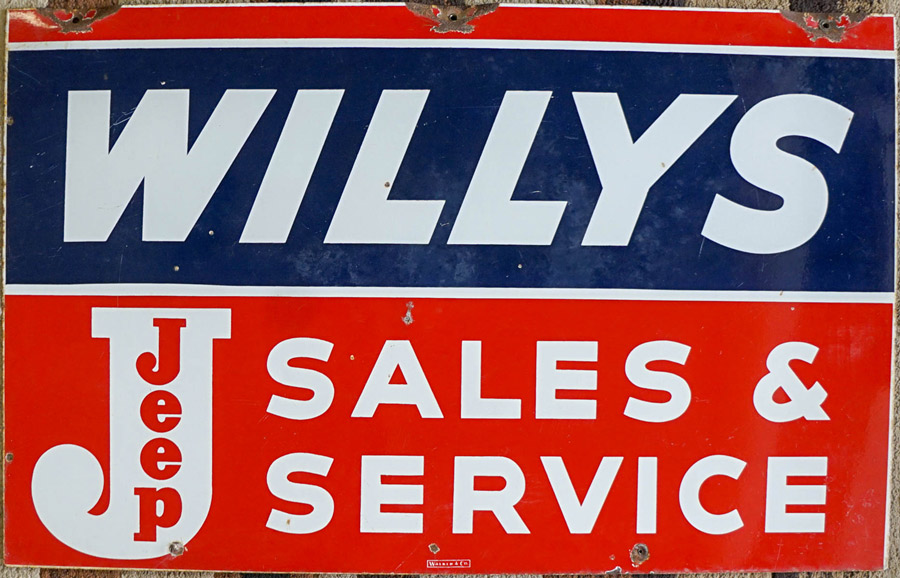 Willys Jeep Sales & Service Double-Sided Sign