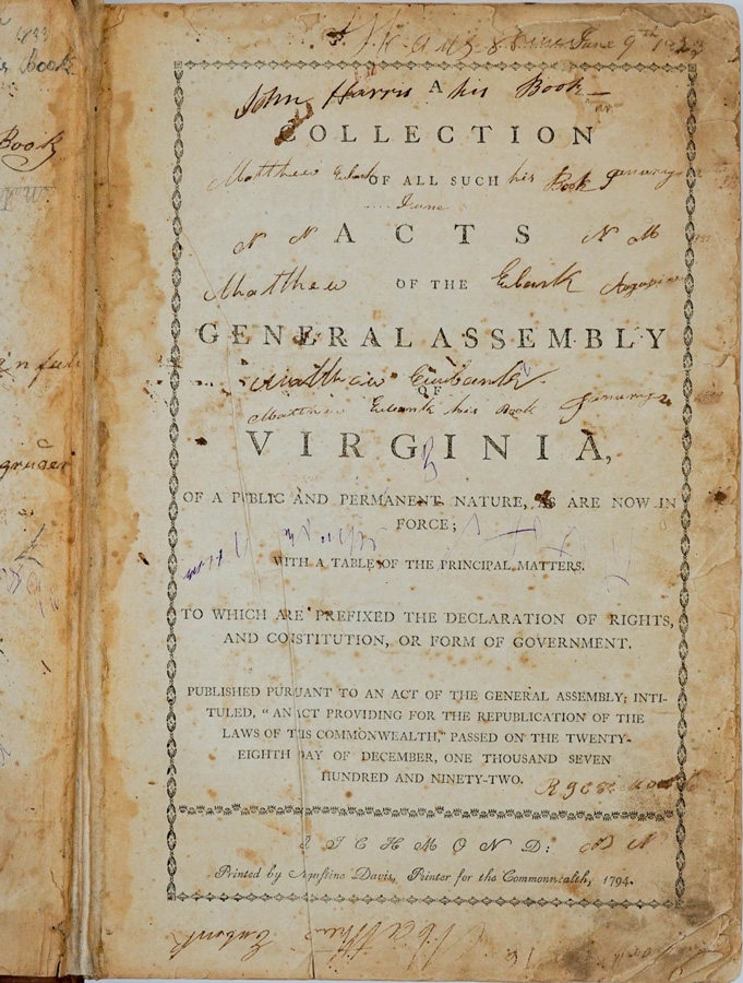 Collection of Acts, Virginia 1794
