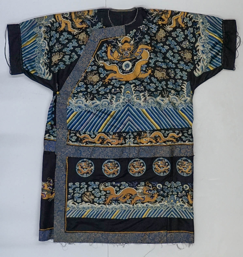 Chinese Formal Court Silk Dragon Robe, Qing