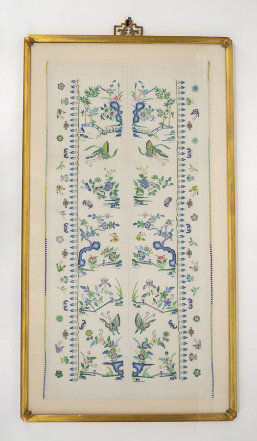 Antique Chinese Forbidden Stitch Sleeve Panels