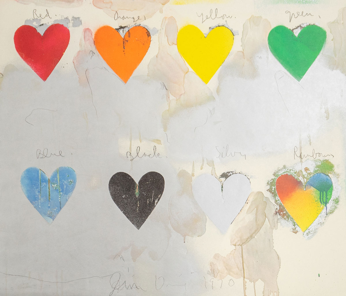 Jim Dine Signed Eight Hearts Print