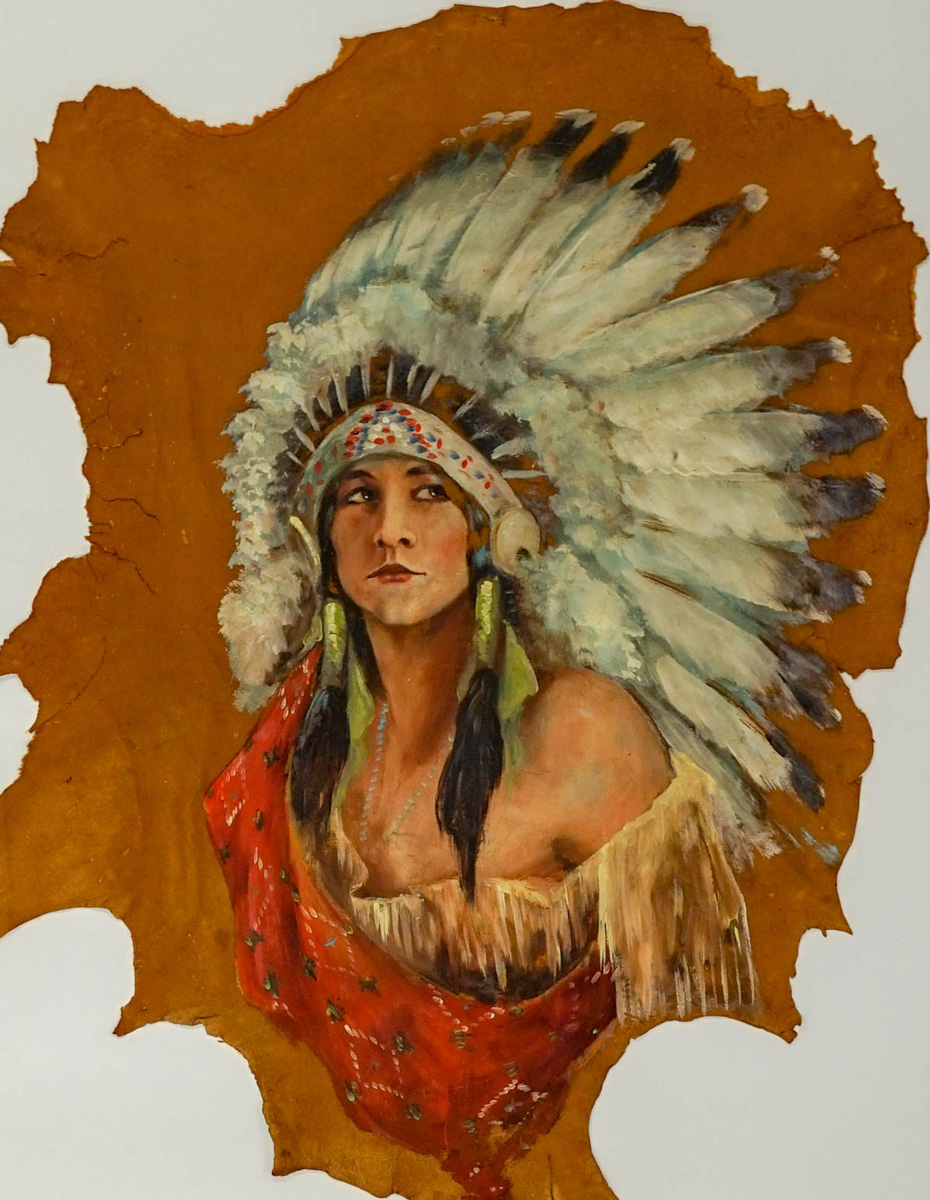 Native American Oil Painting on Hide