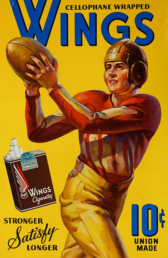 Wings Cigarettes Football Themed Advertising Sign