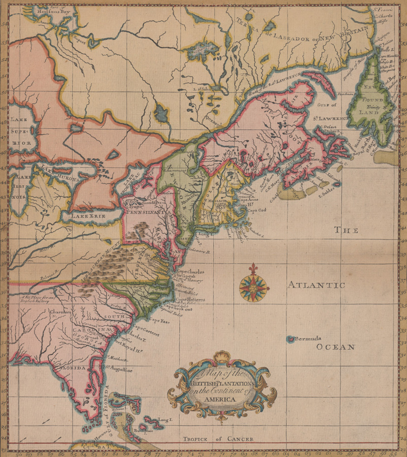 Ca.1732 A Map of the British-Plantations America
