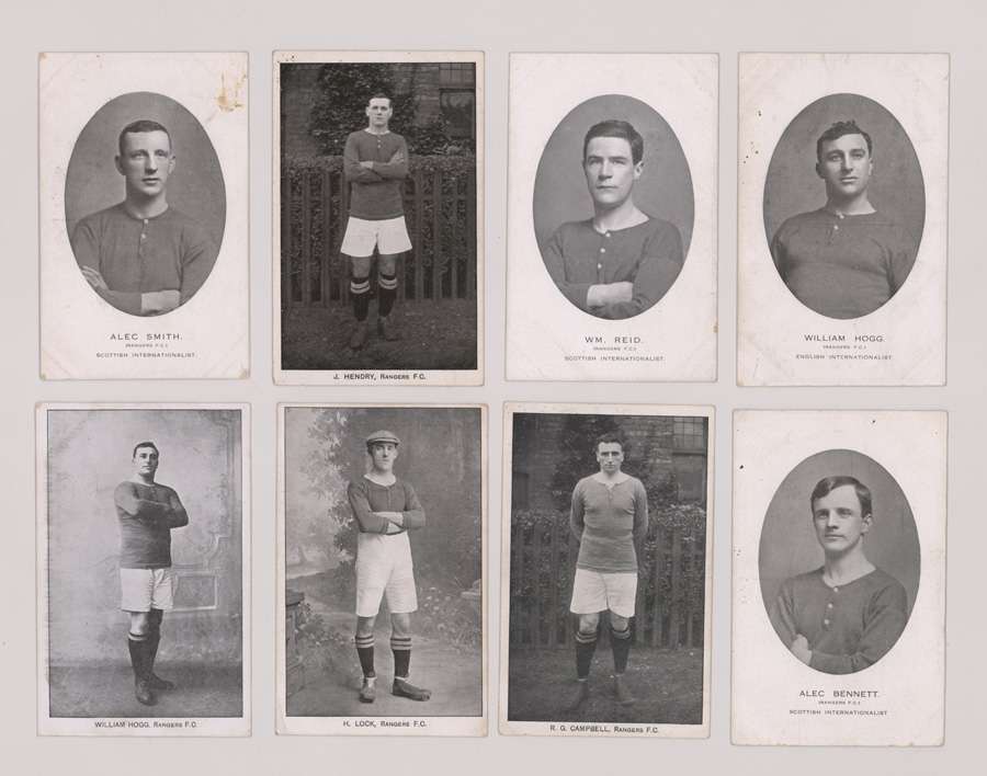 Eight Rangers F.C. Antique Football Player Postcards