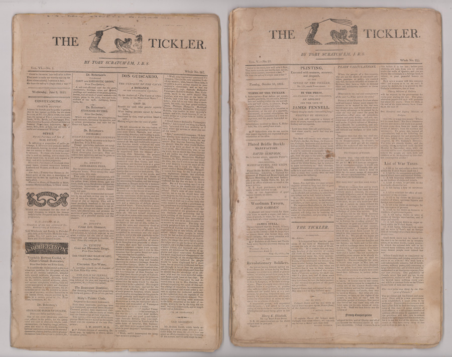 43 Issues of The Tickler Newspaper 1811-1813