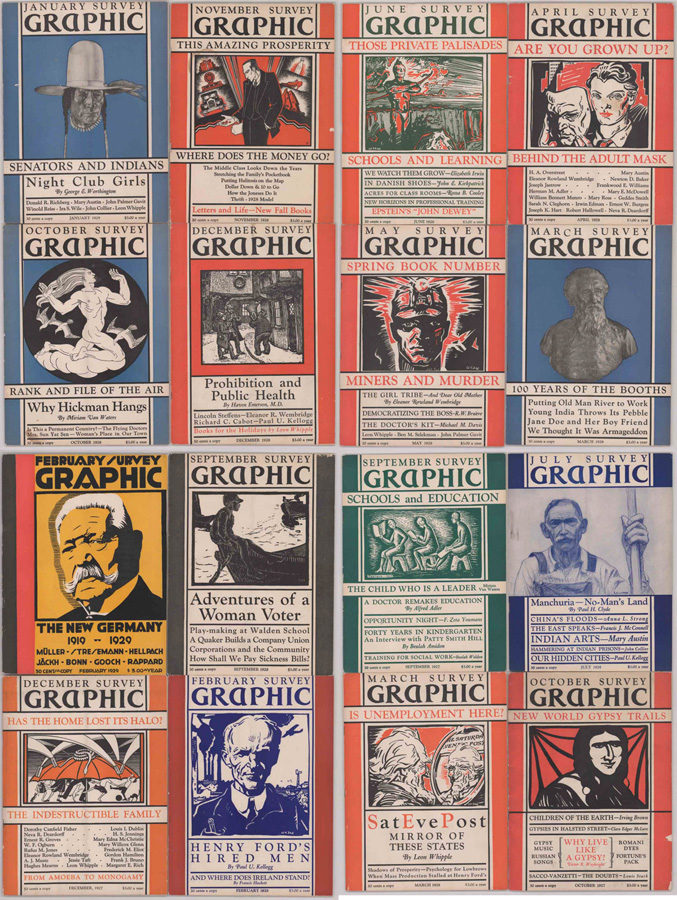 Sixteen Issues Survey Graphics Magazine 1927-1929