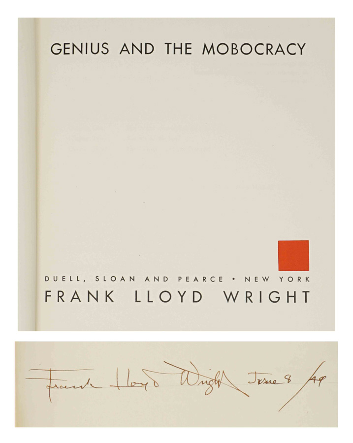 Genius And The Mobocracy Frank Lloyd Wright Signed