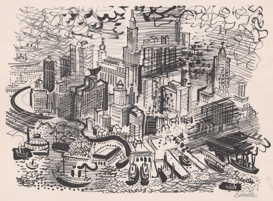 Charles Cobelle Signed Lithograph Manhattan