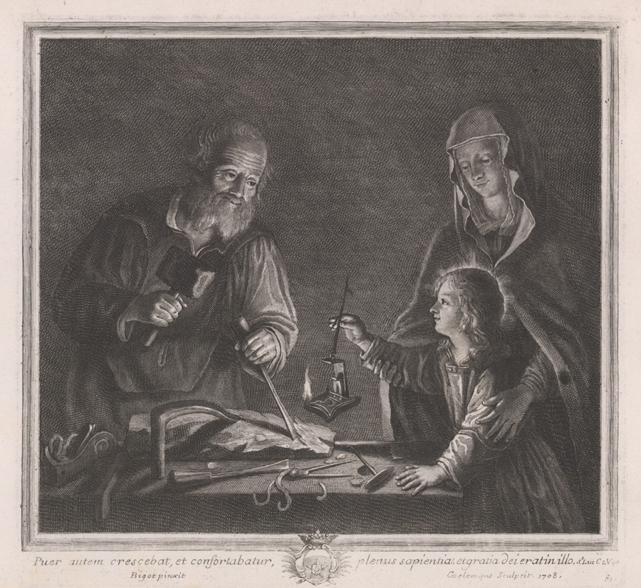 Ca. 1708 Engraving 'Wood Carving' on Laid Paper