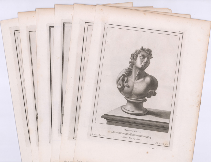 Ca 1760's Italian Copper Engravings of Busts (6)
