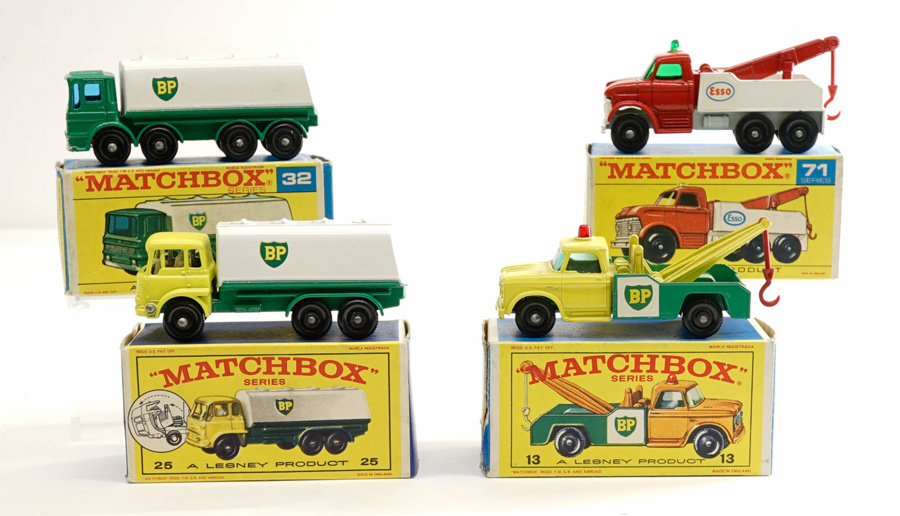 Matchbox Lesney BP and ESSO Trucks with Boxes (4)