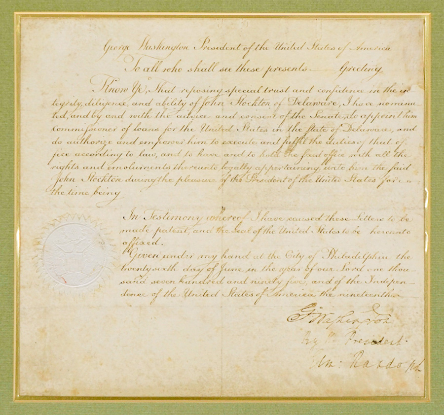 George Washington Signed Presidential Appointment
