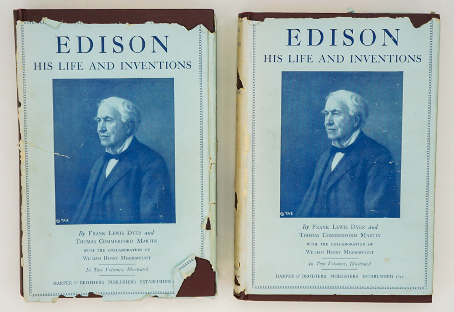 Edison, His Life and Inventions SIGNED (2 V) 1929