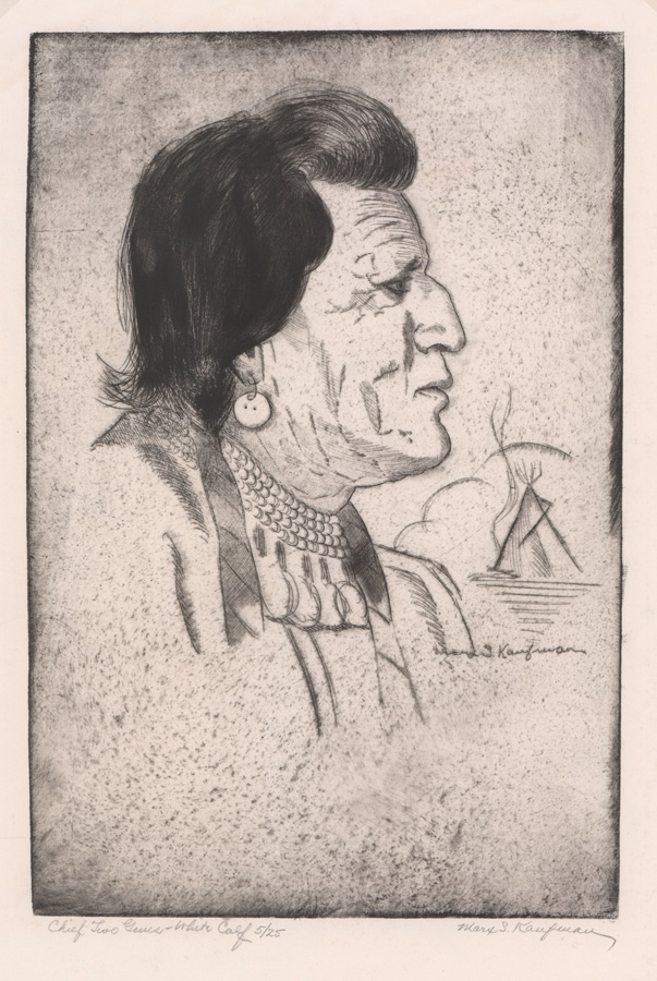 Marx S. Kaufman Etching [Native American Chief]