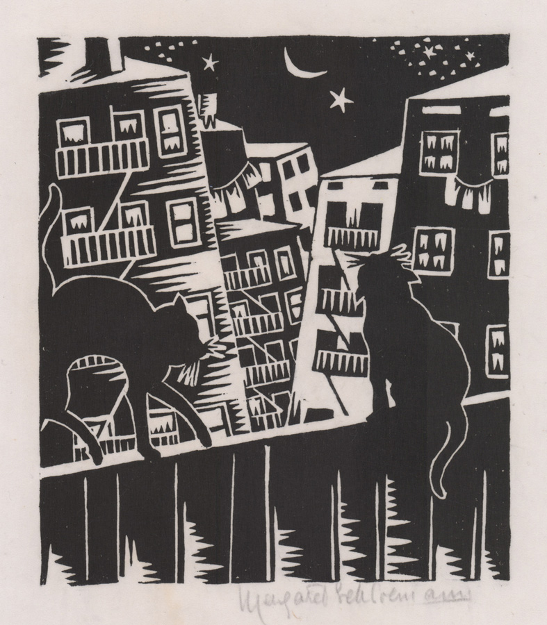 Margaret Schiremann Woodcut [Cats, City]