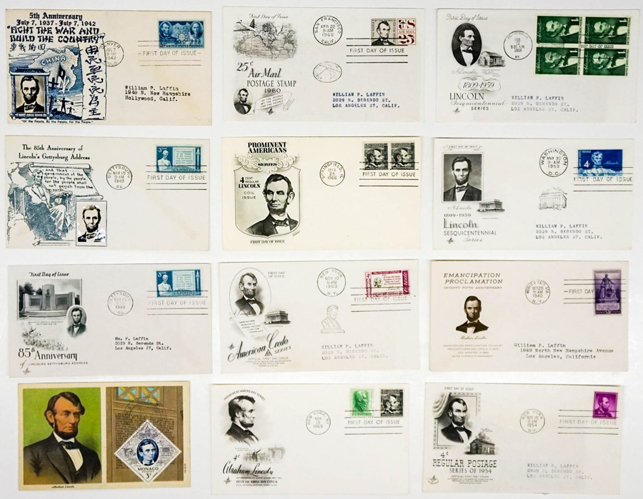 Abraham Lincoln 1940-1966 First Day Covers (12)