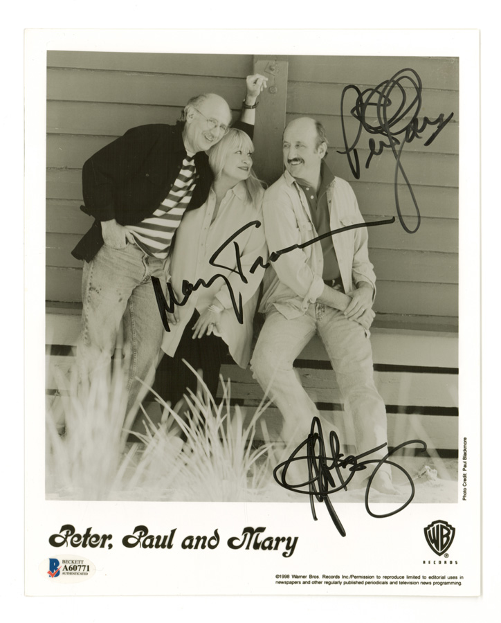 Peter, Paul and Mary Signed 8 x 10 Photo BAS LOA