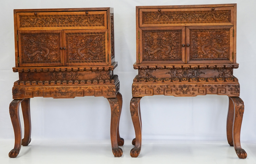 Pair Chinese Small Finely Carved Small Cabinets