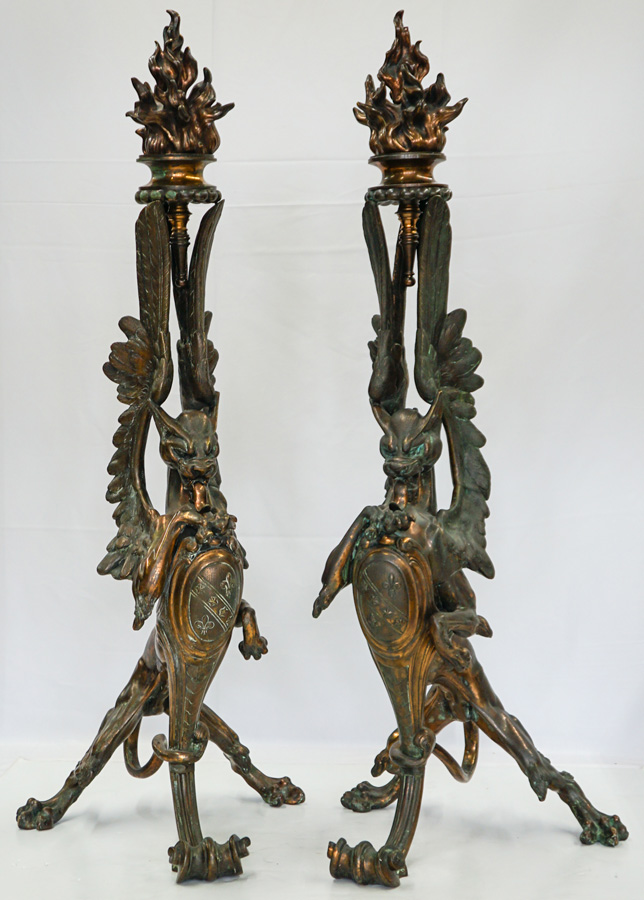 Exceptional Figural Dragon Andirons