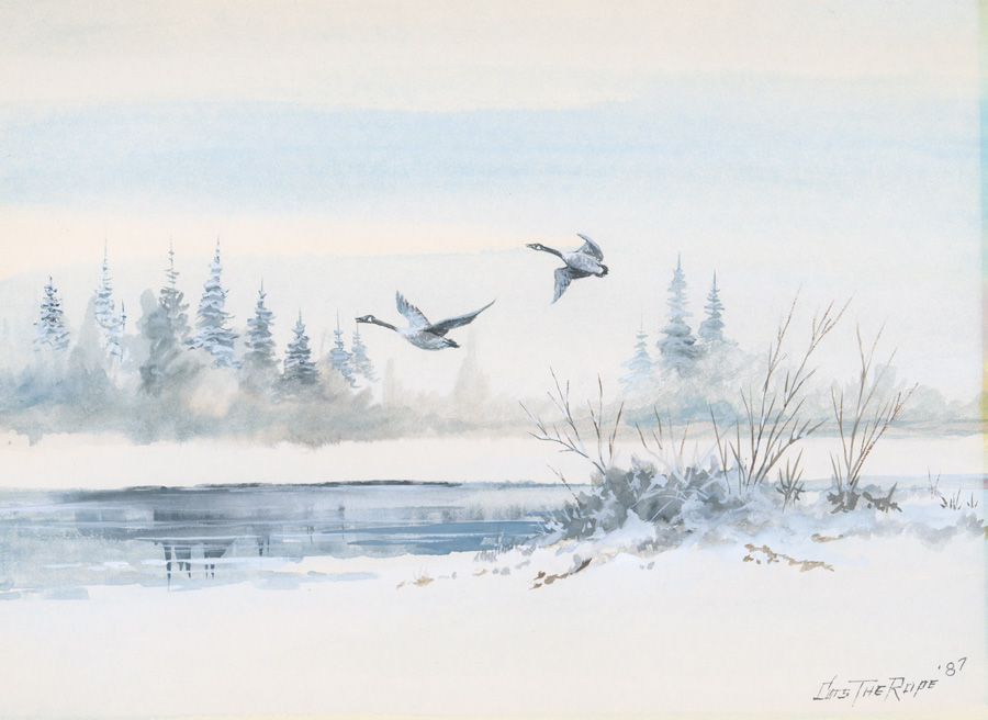 Clarence Basil Cuts the Rope [Winter Scene, Geese]