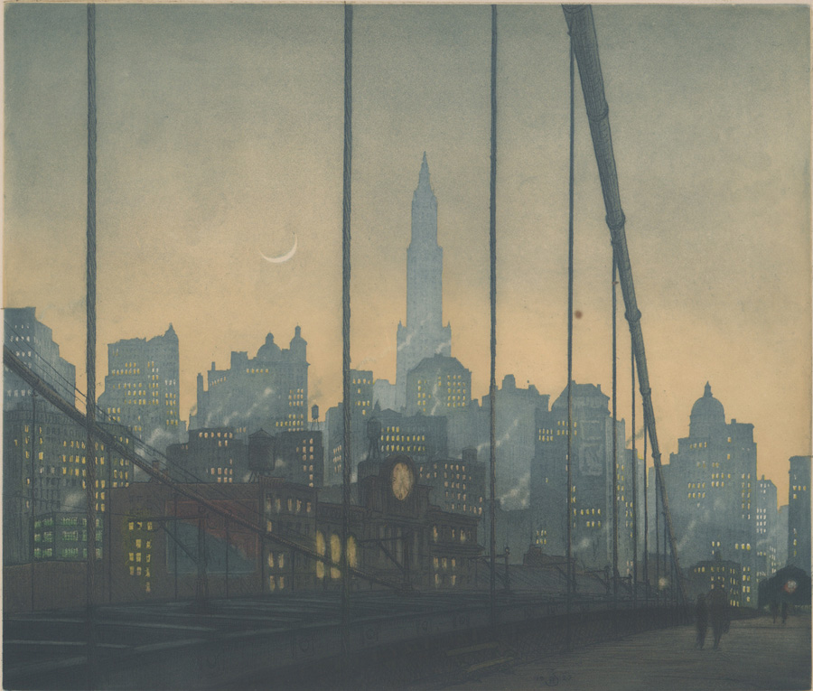 Tavik F. Simon Color Etching [City, Cresent Moon]