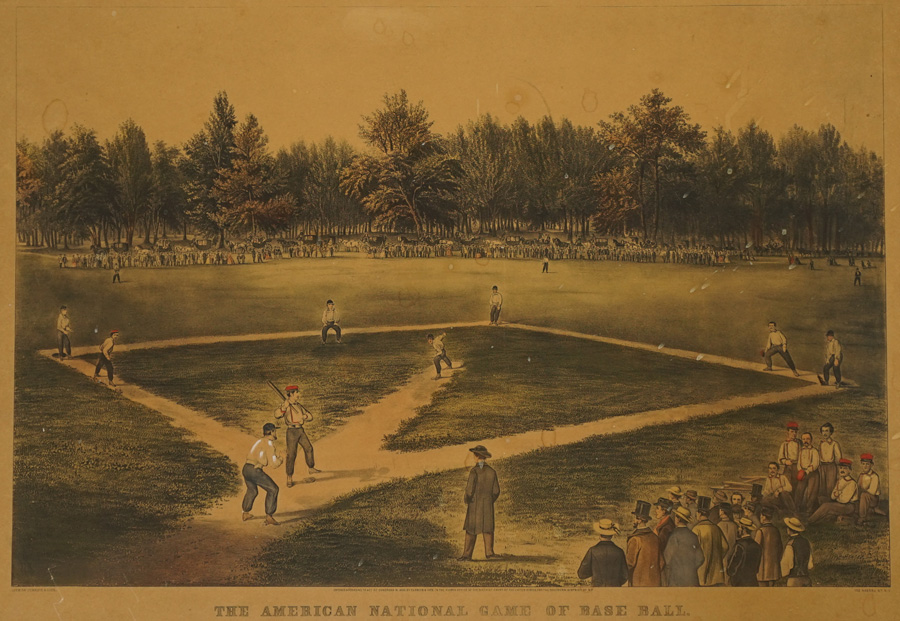 19th Century Currier and Ives Baseball Lithograph