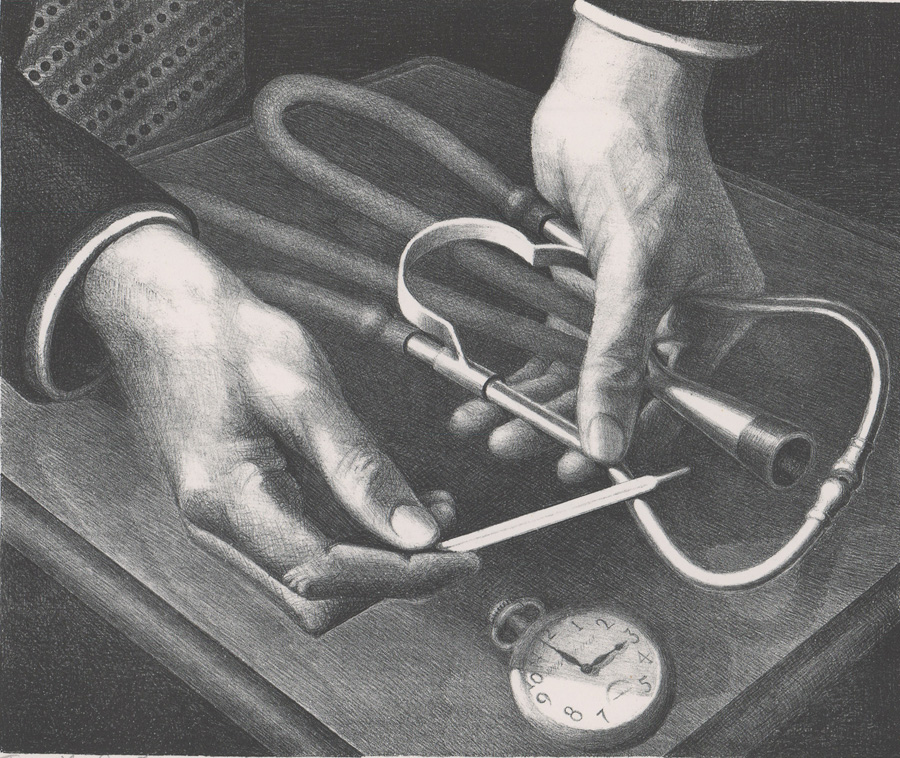 Grant Wood Lithograph [Family Doctor]