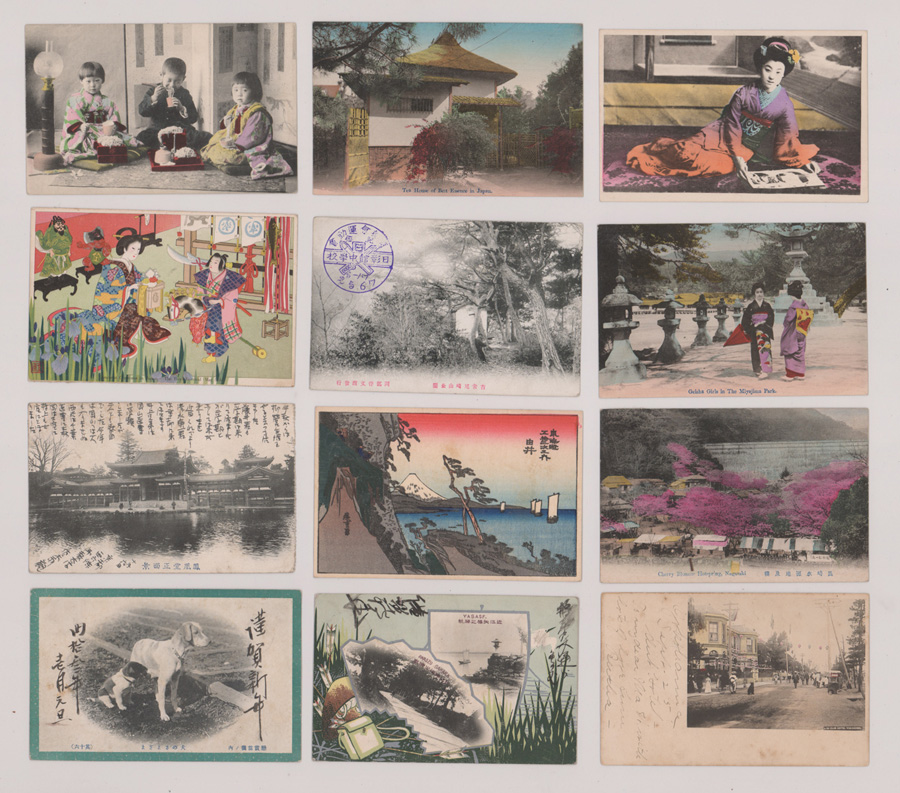 Japanese Hand-Colored Antique Postcards (12)