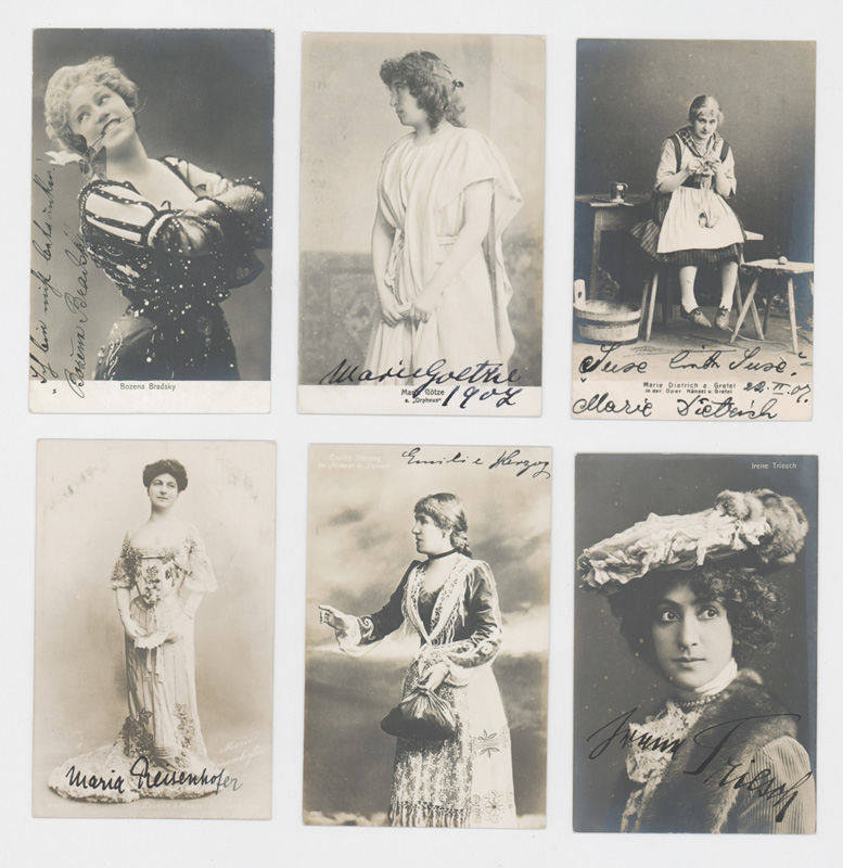 Group of Antique Actress Autographed Postcards (6)