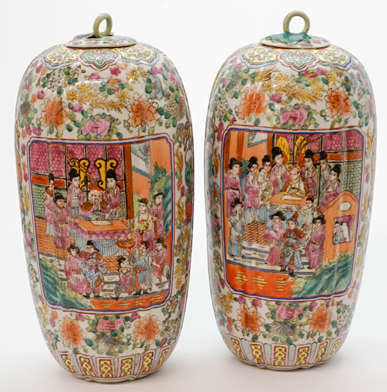 Pair of Large Chinese Covered Jars
