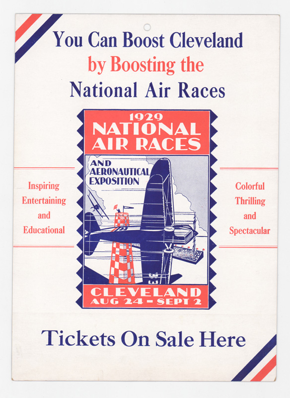 1929 National Air Races Cardboard Sign Cleveland