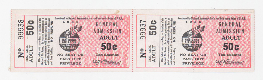 Pair 1935 National Air Races Full Tickets