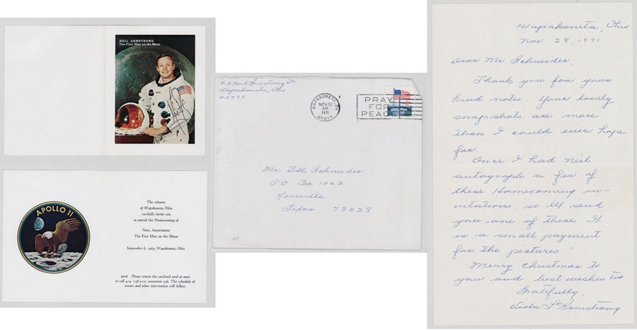 Neil Armstrong Signed Invitation 1969 Beckett LOA