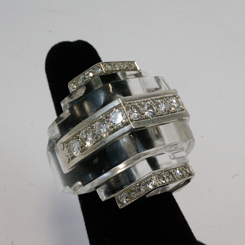 Platinum Rock Crystal and Diamond Ring