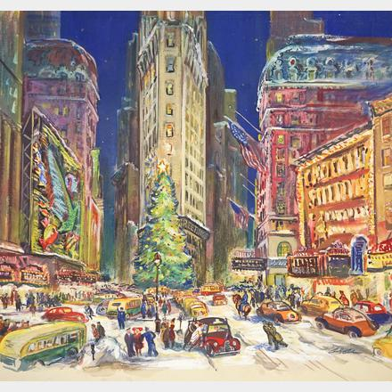 Cecil Bell Original Mixed Media Times Square Christmas Eve