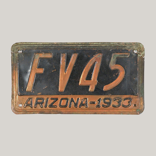 Arizona 1933 License Plate